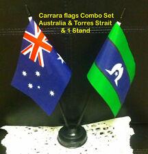 small desk flag set. Australia &Torres Strait flags with plastic sticks &  stand