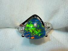 Opal Ring Ladies Sterling Silver 925 & CZ, 10 x 10mm Trillion Triplet. #070176