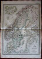 Denmark Norway Sweden Scandinavia 1858 fine old vintage antique hand color map