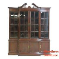 Hickory Chair Co. Mahogany Chippendale China Cabinet Hutch Curio Crystal Display
