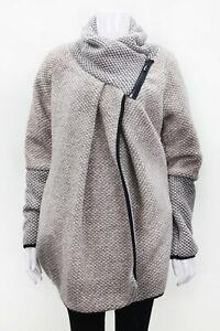 Ladies beige COATIGAN ITALIAN LANGENLOOK Wool Mix Boho Cocoon Bubble Jacket