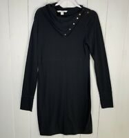 DVF Diane Von Furstenberg Womens Black Size Large Long Sleeve Button Neck Dress