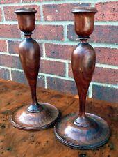 More details for pair edwardian antique arts & crafts solid turned oak baluster candlesticks