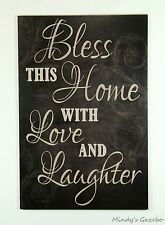 BLACK WOOD SIGNS BLESS THIS HOME HANDMADE FAMILY SIGN COUNTRY WALL DECOR 1558