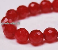 """6mm-8mm 10mm Red Ruby Round Loose Beads Gemstone 15/"""" AAA"""