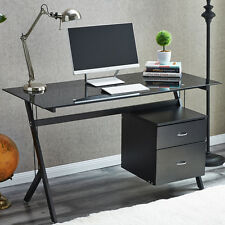 RayGar Black Glass Compact Computer Desk With 2 Drawers for Home Office Laptop