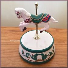 Carousel Horse Porcelain Musical Green by Mr. Christmas Gold Label Free Us Ship