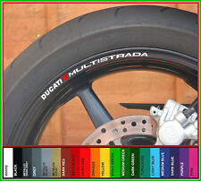 8 x DUCATI MULTISTRADA Wheel Rim Decals Stickers -Colour Choice- 1000 1100 1200