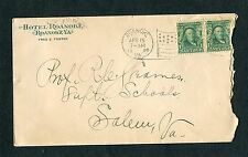1904 Hotel Roanoke Advertising Cover, Fred E. Foster.  Pair of #300s to Salem VA