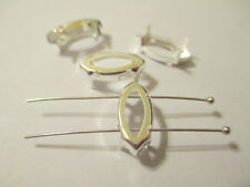 12 Silver Plated  15x7  Navette Settings for Swarovski Sew On Crystal