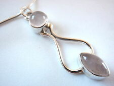 Rose Quartz Curves 925 Silver Silver Pendant Pink  New Corona Sun Jewelry