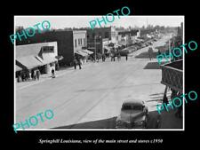 OLD LARGE HISTORIC PHOTO OF SPRINGHILL LOUISIANA, THE MAIN ST & STORES c1950 1