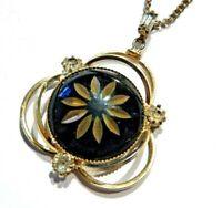 Vintage black & goldtone pendant on chain necklace clear crystal rhinestones B5