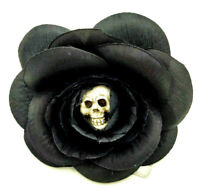 Skull Rose Hair Clip Large Barrette Bow Gothic Goth Horror Punk Black Flower