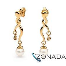 Freshwater Pearl Diamond 9k Solid Yellow Gold Drop Earrings w/ butterfly back