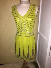 TFNC London Sequin Lime Green Flapper Dress NWT Small Silver Art Deco 1940's
