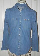 HOLLISTER Denim Jean Button-down Shirt Top Women's XS X-Small