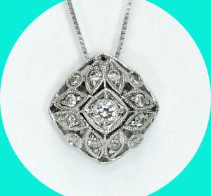 Gabriel & Co. .25CT diamond pendant necklace 14K WG vintage style + box chain