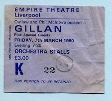 1980 Ian Gillan of Deep Purple concert ticket stub Empire Theatre Liverpool UK