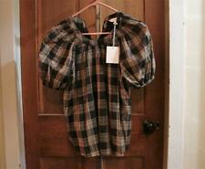 Women's LC Lauren Conrad Check Me Out Brown 1/2 Sleeve Shirt Size S NWT
