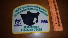 MINISTRY OF NATURAL RESOURCES BEAR HUNTER 1998 ONTARIO CANADA PATCH  BX E #17