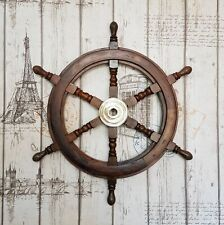 Vintage Nautical Collectible Wooden Ship Wheel 18'' Pirate Wall Decor Gift Item
