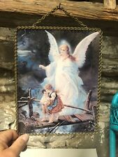 Vintage Rectangular Flue Cover ?? Wall Hanging Of Angel Watching Over Children