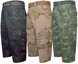 """Mens 3/4 Cargo Shorts Camouflage Ripstop 100% Cotton 6 Pockets Casual 32"""" - 42"""""""
