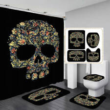 Floral Skull Black Shower Curtain Bath Mat Toilet Cover Rug Bathroom Decor