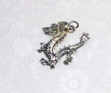 Silver Plated Fire Breathing Dragon Pendant~Vtg Charm Diamond Cut Barbed Tail