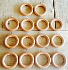 LOT of 14 vintage wood drapery curtain rod rings with eye hooks FREE SHIPPING