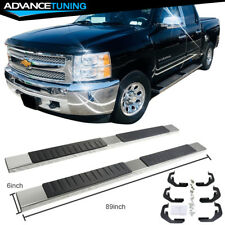 For 07-18 Chevy Silverado Sierra 1500 Crew Cab 6inch Nerf Bar Running Board Pair