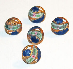 5 ANTIQUE HAND-PAINTED ENAMEL BUTTON set PINK ROSES ~ 8 mm Baby Doll Child