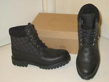 "Timberland 6"" Panel Black Quilted Textile & Leather Hiking Boots Shoes Mens 13"