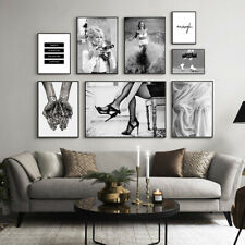 Black White Wall Art Poster Fashion Print Sexy Movie Girl Camera Canvas Painting