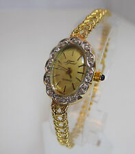 14k Gold Ladies Jacques Prevard Swiss Watch with Diamond Bezel