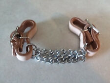 Light Oil Soft Undyed Leather Adjustable Curb Chin Strap with Double Chain