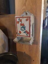 VINTAGE Tin Metal MATCH BOX HOLDER Wall-Mount Strawberries