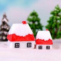 ChristmasSnow House Mini Miniatures Figurine Garden Decor Xmas Micro Landscap wr