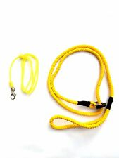 Yellow 8mm Spliced Rope Slip Lead & Yellow Turks Head Knot Dog Whistle Lanyard