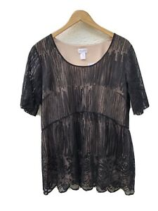 Motherhood Maternity XL Top Black Lace Shirt Blouse Short Sleeve Business Casual