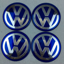 3D Car Wheel Center HUB Cap Curve Badge EMBLEM for VW VOLKSWAGEN BlueChrome 65mm
