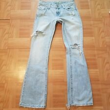 American Eagle Women Jeans Sz 2 W28 Hipster Fit Skinny Flare Rip Low Rise Long