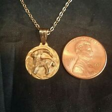 Small Round 14k Solid Gold Aries Zodiac Sign Pendant /Charm  March 21 - April 20