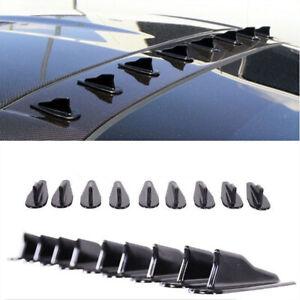 9x Universal EVO-Style Roof Shark Fins Spoiler Wing Kit Vortex Generator Black