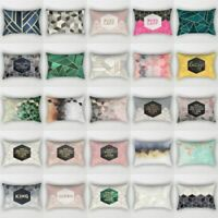 Rectangle Pillow Case Geometric Marble Cushion Cover Home Decor Cotton Linen