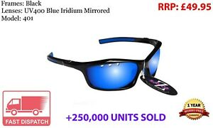 RayZor Black Sports Wrap Sunglasses Uv400 Vented Blue Mirrored Lens (401)