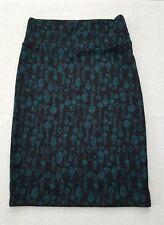LuLaRoe NWOT Cassie Skirt XS Solid Black with Teal Green Keys Pattern