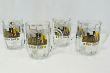 Set of 6 New York City Glass Coffee Mugs Gold Finish Pre-911 Twin Towers Skyline