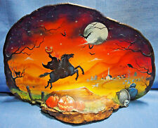 2013 Halloween Hand-painted Tree Fungus Art By Shirley Olsen-Headless Horseman
